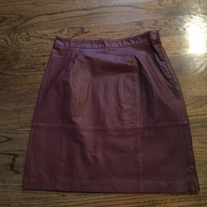 Liz Claiborne Maroon Burgundy Leather Skirt  12